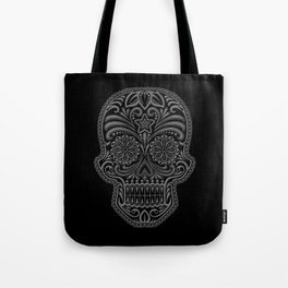 Intricate Gray and Black Day of the Dead Sugar Skull Tote Bag