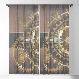 Steampunk Clock with Gears Sheer Curtain