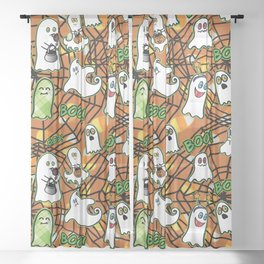 Halloween Ghosts Boo! Trick or Treat by Beebus Marble Sheer Curtain
