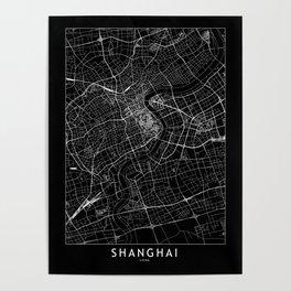 Shanghai Black Map Poster