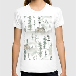 Winter scene houses and trees pattern T-shirt