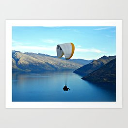 Hang Gliding from Bob's Peak, Queenstown (New Zealand Collection) Art Print