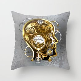 Steampunk Head with Manometer Throw Pillow