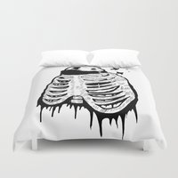 cage Duvet Covers featuring Panda Cage by Jeremy Buckley illustration