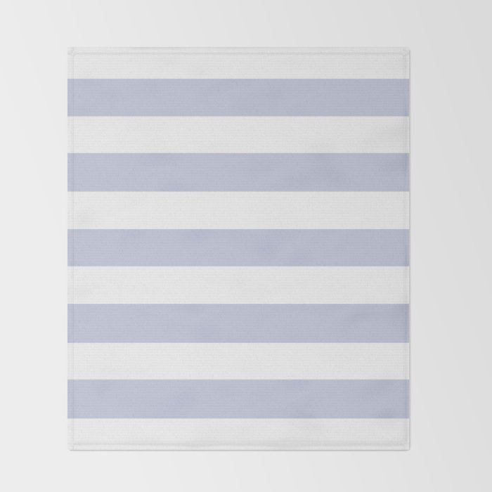 Light Periwinkle Solid Color White Stripes Pattern Throw Blanket