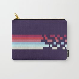 Classic 70s Style Retro Stripes Pixel Drops On Purple - Ariko Carry-All Pouch