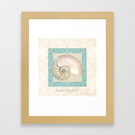 Greek Key Nautilus Seashell Botanical Shell w Striped Pattern Framed Art Print