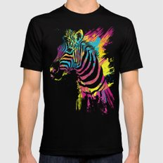 Zebra Splatters MEDIUM Black Mens Fitted Tee