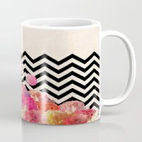 robin Mugs featuring Chevron Flora II by Bianca Green