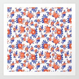 Florida floral orange and blue gators swamp varsity minimal university sports football fan Art Print