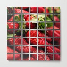 Strawberries & Square Grid Collage Metallic Metal Print