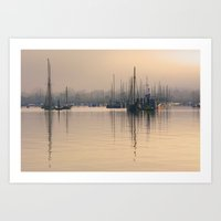 Tall Masts at Sunrise Art Print
