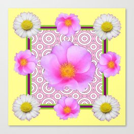 Modern Art Style Shasta Daisy Pink Roses  Yellow color Abstract art Canvas Print
