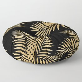 Golden and Black Palm Leaves Floor Pillow
