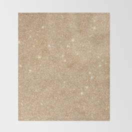 Gold Glitter Chic Glamorous Sparkles Throw Blanket