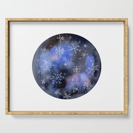 Watercolor Galaxy with Snowflakes Serving Tray