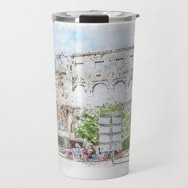 Aquarelle sketch art. The Pula Arena the amphitheatre located in Pula, Croatia Travel Mug