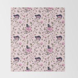 Cats on a flower matrix Throw Blanket