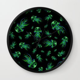 Green Jellyfish Pattern | Colorful Art | Blue and Green | Black background Wall Clock