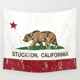 Stockton California Republic Flag Distressed  Wall Tapestry