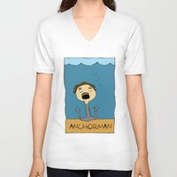 anchorman V-neck T-shirts featuring ANCHORMAN! by Paige Turner