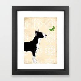 English Bull Terrier Dog in black Framed Art Print