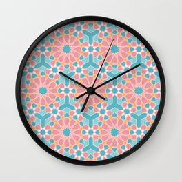 Colorful islamic pattern pink and blue Wall Clock