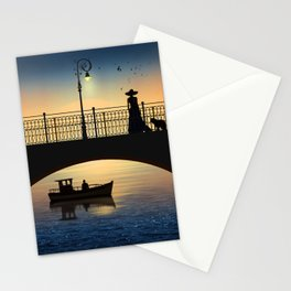 Romantic meeting by the river in the sunset Stationery Cards