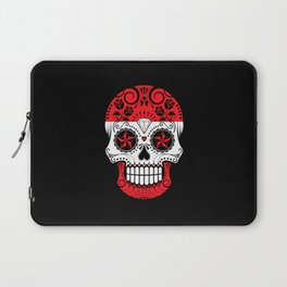Sugar Skull with Roses and Flag of Austria Laptop Sleeve