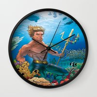 aquaman Wall Clocks featuring Aquaman Black Lagoon (Sun Kissed Water Version) by Brian Hollins art