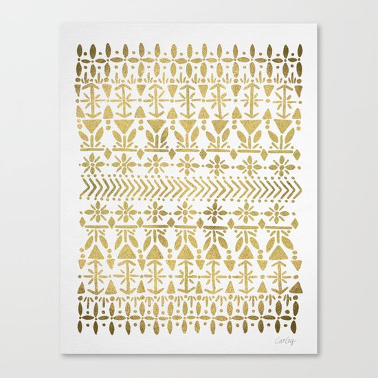 Norwegian Pattern – Gold on White Canvas Print