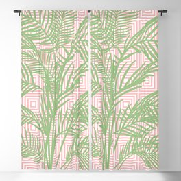 Retro Tropical Palm Trees and Geometric Square Pattern in Modern Pink and Green Blackout Curtain