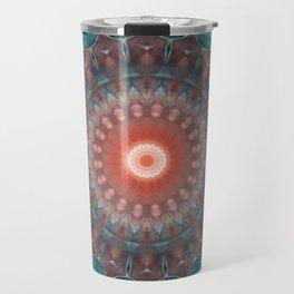 Blue orange , mandala Travel Mug