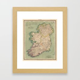 Vintage Map of Ireland (1888) Framed Art Print