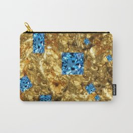 FACETED BLUE  TOPAZ GEMSTONES ON GOLD Carry-All Pouch