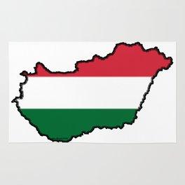 Hungary Map with Hungarian Flag Rug