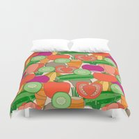 vegetables Duvet Covers featuring Vegetables by Valendji