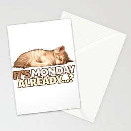 Lazy Cat - Monday Blues Stationery Cards
