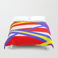 bands Duvet Covers featuring Bands 2 retro stripes by Brian Raggatt