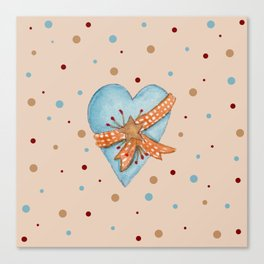 Country Heart And Polka Dots Watercolor Canvas Print