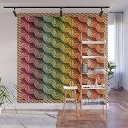Wooden Asanoha Colorful Wall Mural