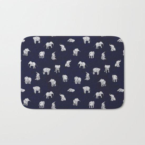 Indian Baby Elephants in Navy Bath Mat