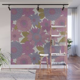 Pink & Purple Retro Floral Pattern Wall Mural