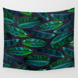 Banana Leaf Pattern Dark on Blue Wall Tapestry