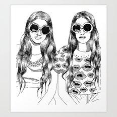 two'fashions girls Art Print