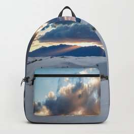 One More Moment - Sunbeams Burst From Clouds Over White Sands New Mexico Backpack