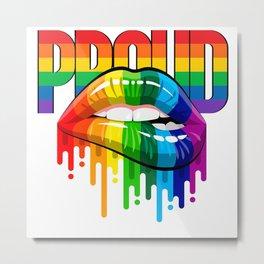 proud Rainbow Lips Pride Metal Print