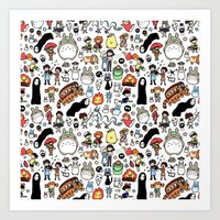 youtube Art Prints featuring Kawaii Ghibli Doodle by KiraKiraDoodles
