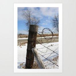 Winter Fence Post Art Print