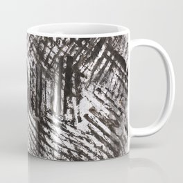 Black gray abstract lines painting Coffee Mug